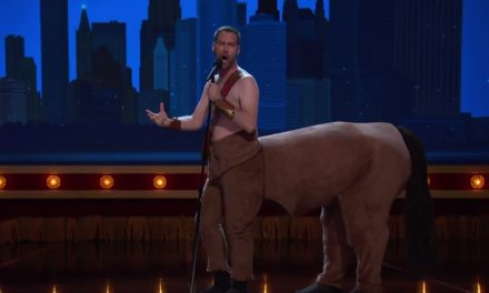 Jon Dore performs as a centaur on Conan
