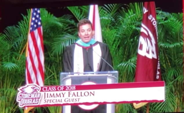 Jimmy Fallon delivers graduation address to Marjory Stoneman Douglas High School in Parkland, Fla.