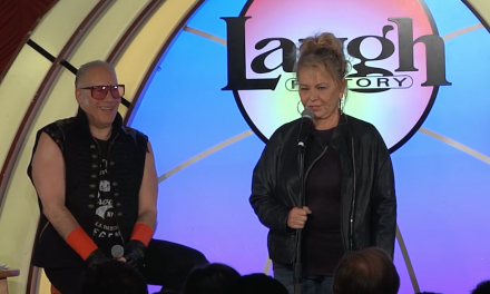 "Roseanne Barr joined Andrew ""Dice"" Clay onstage at The Laugh Factory in Las Vegas"