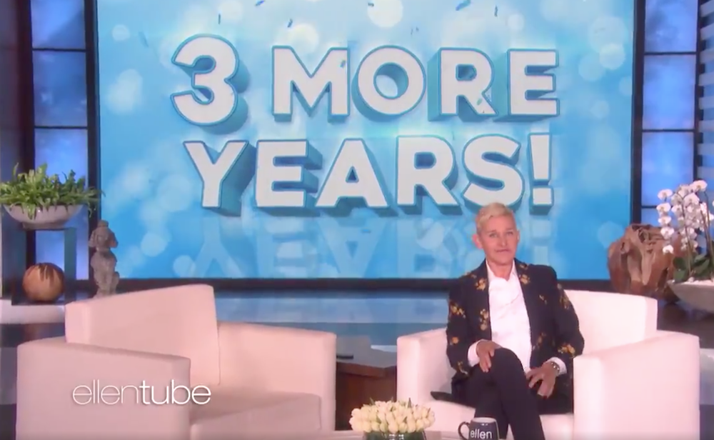 Ellen DeGeneres will stay in daytime TV for at least three more years, into 2022