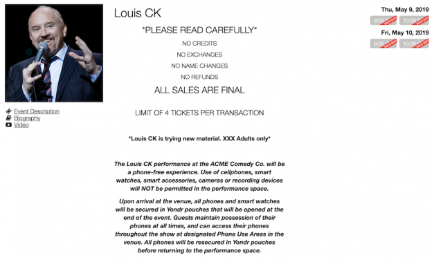Louis CK's 2019 club gigs now require audiences to get his consent to share his jokes