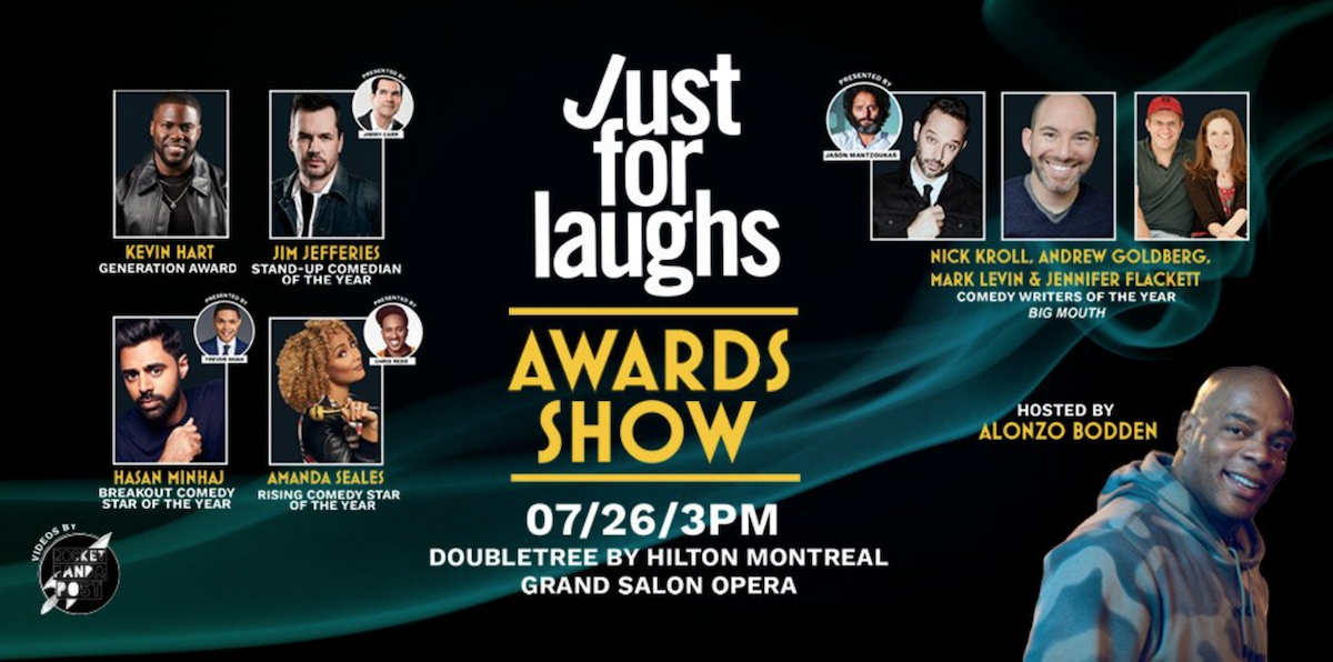 "Just For Laughs fetes Kevin Hart, Jim Jefferies, Hasan Minhaj, Amanda Seales, ""Big Mouth"" with 2019 awards"