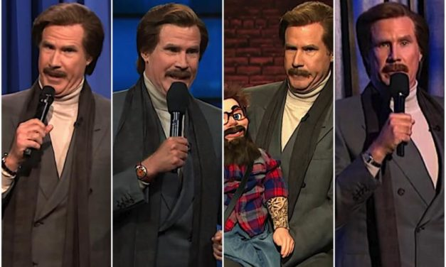 Will Ferrell as Ron Burgundy performs stand-up, prop and ventriloquism on six late-night shows in one night