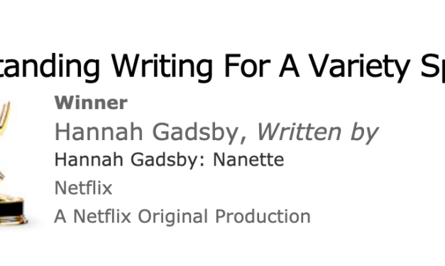 "Hannah Gadsby wins the writing Emmy for ""Nanette"""