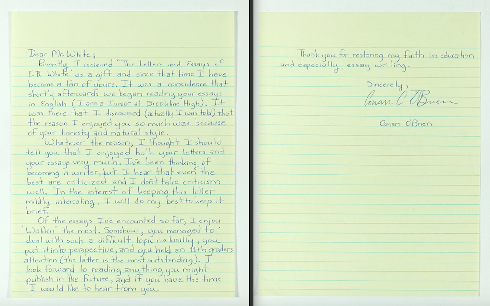 Conan O'Brien's high-school letter to E.B. White