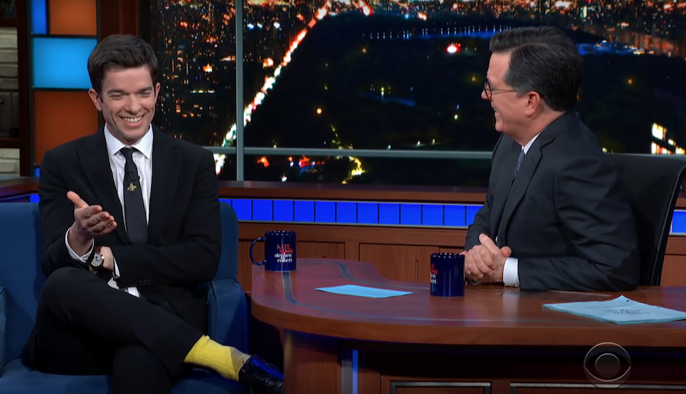 John Mulaney and Stephen Colbert talk about revealing themselves onstage, on camera
