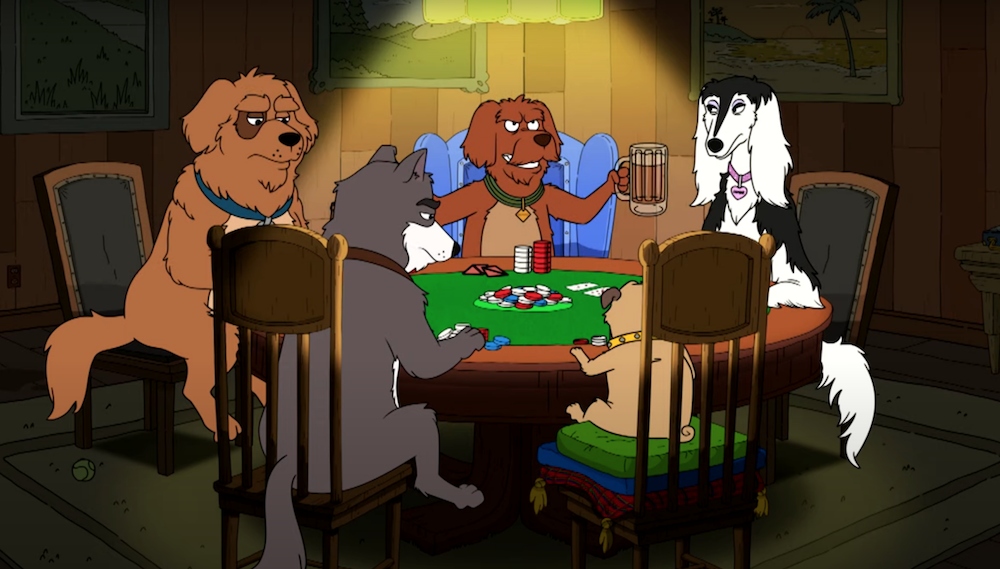 Denis Leary and friends animate Dogs Playing Poker for FOX NFL pregame