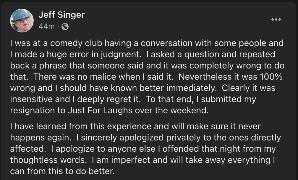 JFL New Faces Booker Jeff Singer Submits Resignation